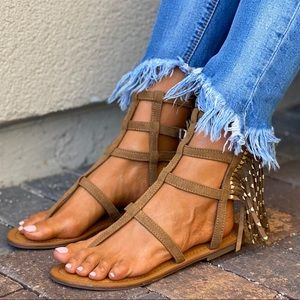 Fringe & Studs Strappy Boho Gladiator Ankle Sandal